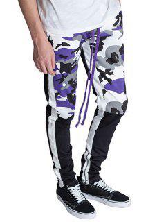 Hem Zipper Camo Patchwork Track Pants - Purple Xs
