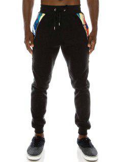 Zipper Side Pocket Fleece Jogger Pants - Black L