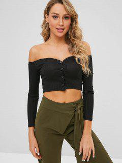 Off The Shoulder Button Fly Crop Top - Black M