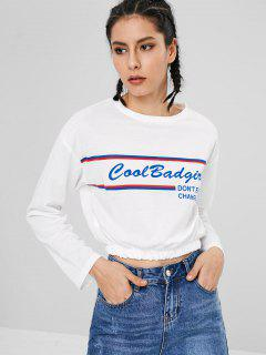 Graphic Striped Cropped Top - White M