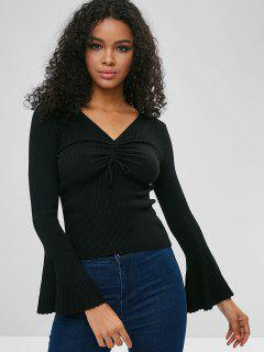 Cinched Flare Sleeve Fitted Sweater - Black