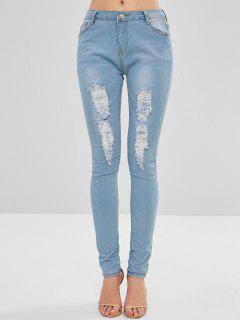Distressed Five Pockets Skinny Jeans - Denim Blue S