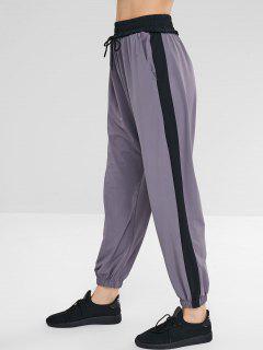 Pantalones Deportivos De Bloques De Colores Con Cordón - Gris Xl