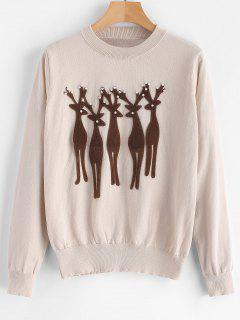 Beading Deer Christmas Sweater - Champagne