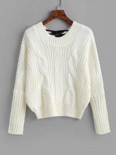 Pullover Ata Para Arriba El Cable Jersey De Punto - Blanco