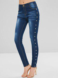 Faux Pearl Embellished Skinny Jeans - Denim Dark Blue S