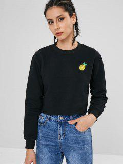 Tropical Pineapple Embroidered Sweatshirt - Black L