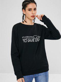 Heart Letter Graphic Sweatshirt - Black M