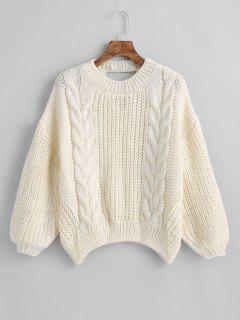 Suéter De Punto De Cable Recortado Suéter - Blanco Cálido