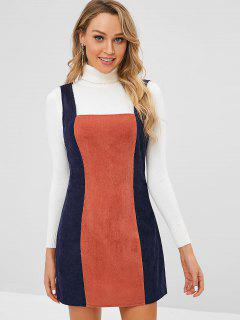ZAFUL Back Zipper Two Tone Corduroy Pinafore Dress - Cadetblue S
