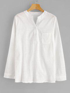 Blusa De Bolsillo Con Cuello En V - Blanco 2xl