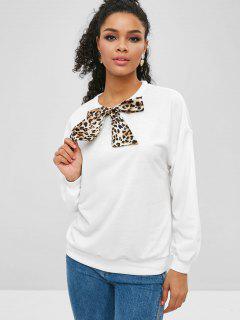 Leopard Bowknot Drop Shoulder Sweatshirt - White L