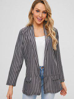 Striped Shawl Collar Longline Blazer - Black L
