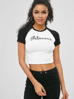 Camiseta Princesa Color Block Crop - Blanco S