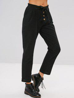 Buttons Embellished Plain Knotted Pants - Black S