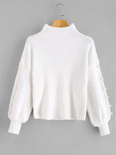 High Neck Faux Pearl Embellished Sweater - White