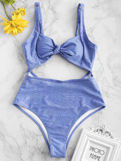 ZAFUL Knot Denim Print Cut Out Swimsuit - Multi-a L