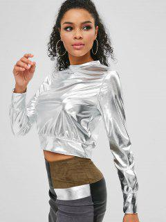 Metallisches Crop T-Shirt - Silber M