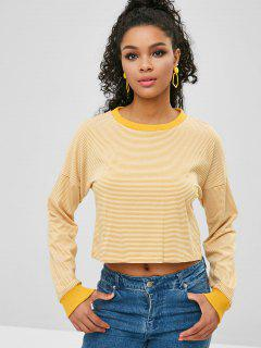 Tropfen Schulter Crop Gestreiftes Sweatshirt - Goldrute L