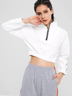 Sweatshirt Lettre D'épaule à Fermeture éclair - Blanc Lait M