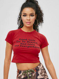 Camiseta Raglan Sleeve Letter Crop - Rojo