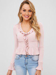 Ruffle Smocked - Crop T-Shirt - Rose L