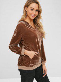 Pocket Velvet Tunic Pullover Hoodie - Dark Khaki 2xl