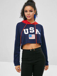 Crop American Flag Hoodie - Deep Blue S