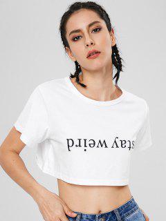 Kurzarm Bleiben Komisch Zugeschnittenes T-Shirt - Weiß S