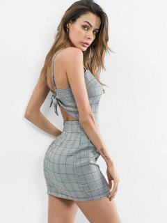 Knotted Back Checked Cami Dress - Blue Gray S