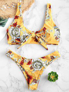 ZAFUL Krawatte Floral Convertible Bikini Set - Dunkel Gelb L