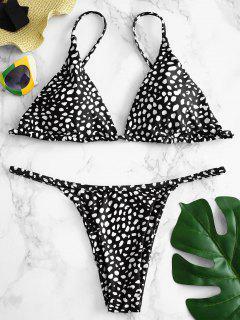 Ensemble De Bikini à Lien Noué Imprimé ZAFUL - Noir Profond L