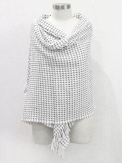 Solid Color Fringed Soft Scarf - White