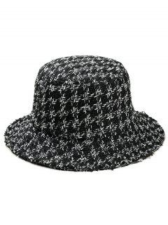 Vintage Houndstooth Pattern Bucket Hat - Black