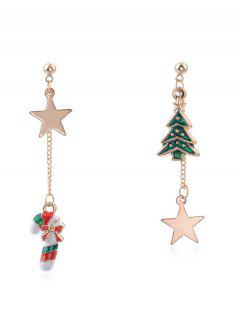Asymmetric Christmas Tree And Star Design Earrings - Gold