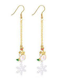 Christmas Snowflake Printed Drop Earrings - Gold