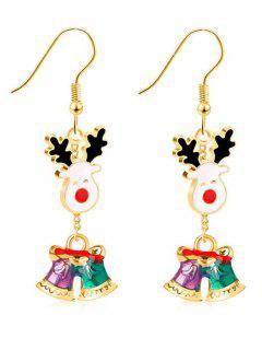 Christmas Jingling Bell Printed Earrings - Gold