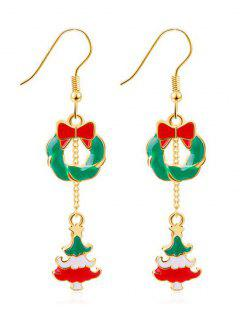 Christmas Tree Design Drop Earrings - Gold