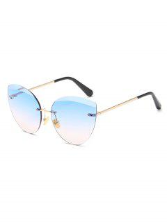 Anti Fatigue Rimless Catty Sunglasses - Crystal Blue