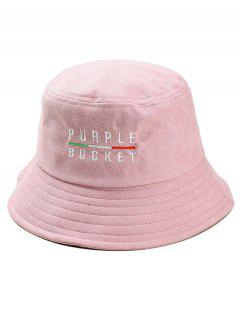 PURPLE BUCKET Embroidery Fisherman Hat - Pink