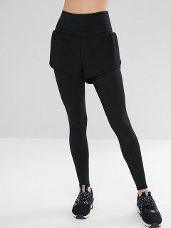 High Waisted Overlay Leggings - Black L