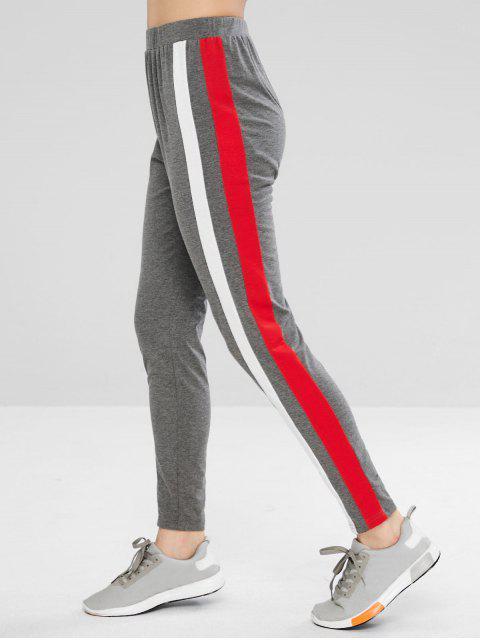 shops ZAFUL Contrast Side Striped Leggings - GRAY L Mobile