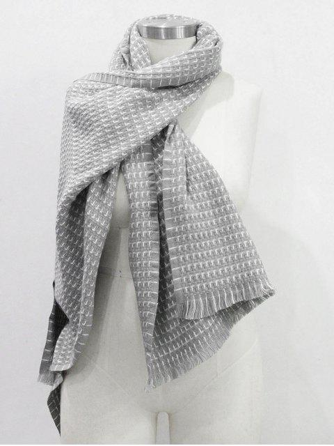 womens Solid Color Fringed Soft Scarf - GRAY CLOUD  Mobile