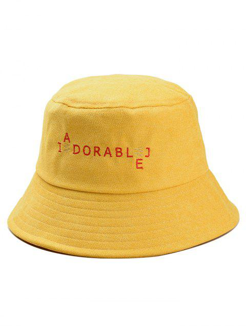 shops Funny Letters Embroidery Bucket Hat - YELLOW  Mobile