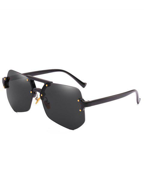 unique Anti Fatigue Crossbar Rimless Sunglasses - BLACK  Mobile
