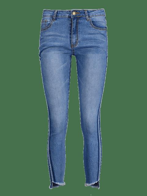 ZAFUL Skinny Frayed Hem Pencil Jeans - Azul Denim S Mobile