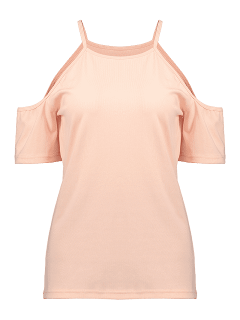 ZAFUL Cold Schulter Sport Gym Tee - Rosa S Mobile