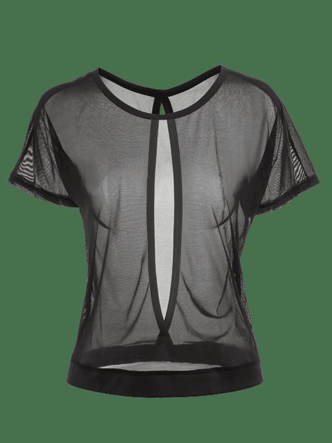 Mesh Sheer Ausgeschnittenes Sport T-Shirt - Schwarz L Mobile