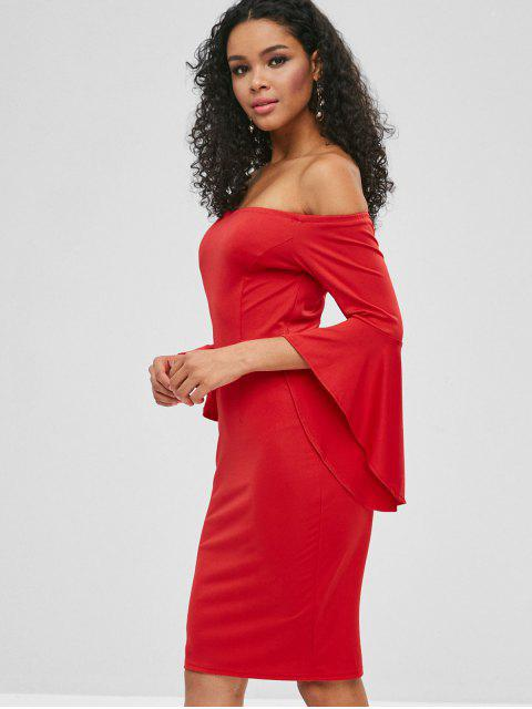 latest Bell Sleeve Off Shoulder Fitted Dress - RED M Mobile