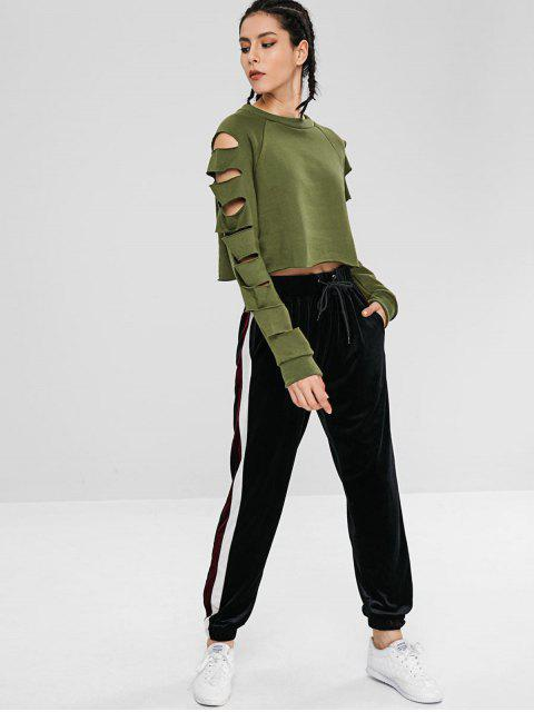 Raglanärmel Crop Sweatshirt ausgeschnitten - Armeegrün M Mobile